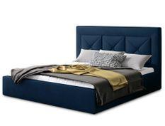 Lit coffre design 200x200 cm sommier relevable velours bleu foncé Clarin