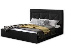 Lit coffre design 200x200 cm sommier relevable velours noir Clarin