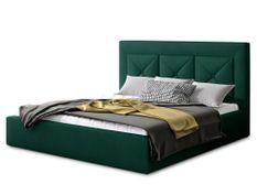 Lit coffre design 200x200 cm sommier relevable velours vert foncé Clarin