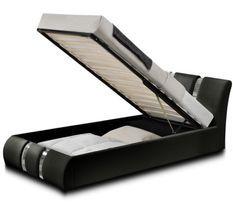 Lit coffre design similicuir noir et métal Ange 90x190 cm