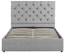 Lit coffre tête de lit capitonné gris clair Starship 140x190 cm