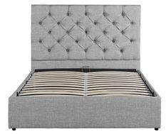 Lit coffre tête de lit capitonné gris clair Starship 160x200 cm