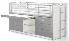 Lit combiné 1 bureau 3 tiroirs bois blanc et gris Bonny