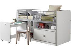 Lit combiné 90x200 cm avec sommier 1 bureau 2 portes bois blanc Bonny