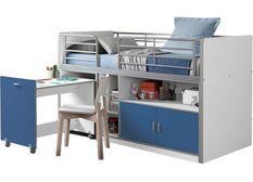 Lit combiné 90x200 cm avec sommier 1 bureau 2 portes bois blanc et bleu Bonny