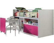 Lit combiné 90x200 cm avec sommier 1 bureau 2 portes bois blanc et fuchsia Bonny