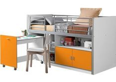 Lit combiné 90x200 cm avec sommier 1 bureau 2 portes bois blanc et orange Bonny