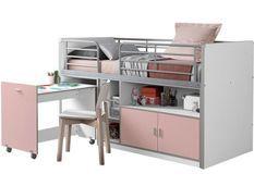 Lit combiné 90x200 cm avec sommier 1 bureau 2 portes bois blanc et rose Bonny