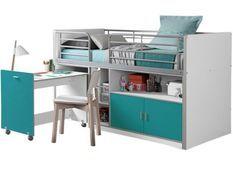 Lit combiné 90x200 cm avec sommier 1 bureau 2 portes bois blanc et turquoise Bonny