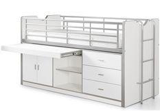 Lit combiné 90x200 cm avec sommier 1 bureau 3 tiroirs bois blanc Bonny