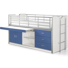 Lit combiné 90x200 cm avec sommier 1 bureau 3 tiroirs bois blanc et bleu Bonny