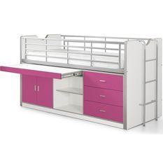 Lit combiné 90x200 cm avec sommier 1 bureau 3 tiroirs bois blanc et fuchsia Bonny