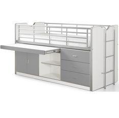 Lit combiné 90x200 cm avec sommier 1 bureau 3 tiroirs bois blanc et gris Bonny