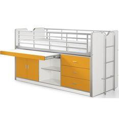 Lit combiné 90x200 cm avec sommier 1 bureau 3 tiroirs bois blanc et orange Bonny
