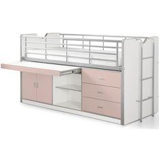 Lit combiné 90x200 cm avec sommier 1 bureau 3 tiroirs bois blanc et rose Bonny