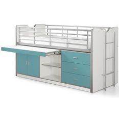 Lit combiné 90x200 cm avec sommier 1 bureau 3 tiroirs bois blanc et turquoise Bonny