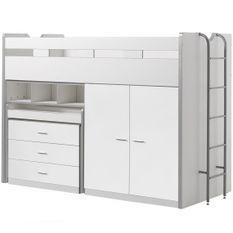 Lit combiné 90x200 cm avec sommier 3 tiroirs 2 portes bois blanc Bonny 90x200 cm