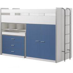 Lit combiné 90x200 cm avec sommier 3 tiroirs 2 portes bois blanc et bleu Bonny