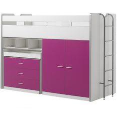 Lit combiné 90x200 cm avec sommier 3 tiroirs 2 portes bois blanc et fuchsia Bonny