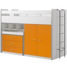 Lit combiné 90x200 cm avec sommier 3 tiroirs 2 portes bois blanc et orange Bonny