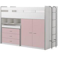 Lit combiné 90x200 cm avec sommier 3 tiroirs 2 portes bois blanc et rose Bonny