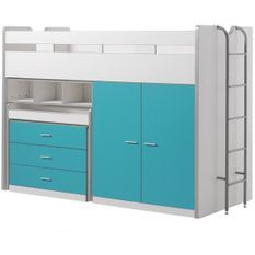 Lit combiné 90x200 cm avec sommier 3 tiroirs 2 portes bois blanc et turquoise Bonny