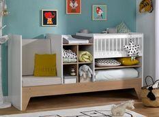 Lit combiné transformable 40x80 cm bois clair et blanc Ecrin