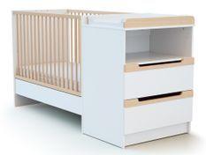 Lit combiné transformable 60x120 cm blanc et hêtre verni Carrousel