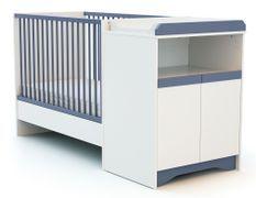 Lit combiné transformable 60x120 cm bois blanc et bleu Cotillon