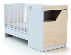 Lit combiné transformable 60x120 cm bois blanc et bouleau clair Carnaval