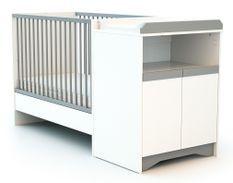 Lit combiné transformable 60x120 cm bois blanc et gris Cotillon