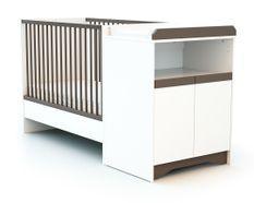 Lit combiné transformable 60x120 cm bois blanc et taupe Cotillon