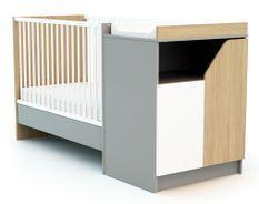 Lit combiné transformable 60x120 cm bois gris et chêne clair Carnaval