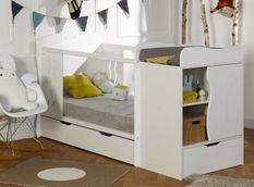 Lit combiné transformable avec tiroir 70x140 cm bois blanc Belem