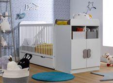 Lit combiné transformable avec tiroir 70x140 cm bois blanc Madrid