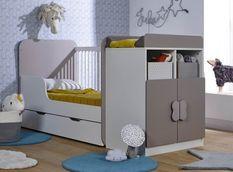 Lit combiné transformable avec tiroir 70x140 cm bois taupe et blanc Madrid