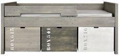 Lit compact pin massif gris Basic Wood 90