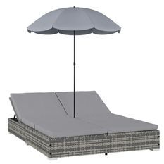 Lit de jardin avec parasol polyester et résine tressée gris Uvo