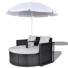 Lit de jardin avec parasol résine tressée noire Uvo