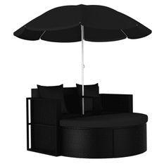 Lit de jardin avec parasol tissu et résine tressée noire Uvo