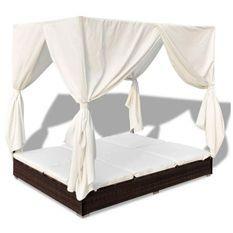 Lit de jardin avec rideaux résine marron et tissu blanc Uvo