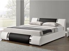 Lit design coffre 140x190 cm similicuir blanc et noir avec sommier Nola