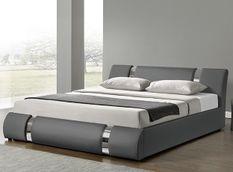 Lit design coffre 140x190 cm similicuir gris et métal Ange