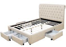 Lit double 4 tiroirs avec tête de lit capitonnée beige Mysk 160x200 cm