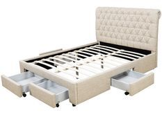 Lit double 6 tiroirs avec tête de lit capitonnée beige Mysk 140x190 cm