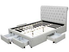 Lit double 6 tiroirs avec tête de lit capitonnée gris Mysk 140x190 cm