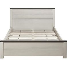 Lit double bois blanc et noir Tsarun 140x190 cm