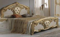 Lit double bois brillant beige et doré Crissie 160