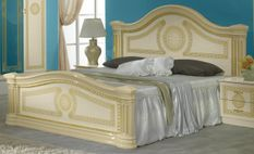 Lit double bois brillant beige et doré Savana 160