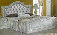 Lit double bois brillant blanc et gris Savana 180